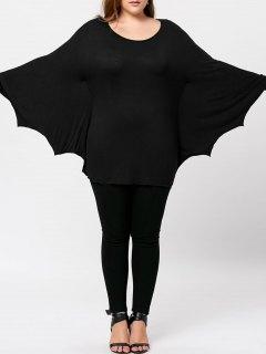 Plus Size Halloween Batwing T-shirt - Black 2xl