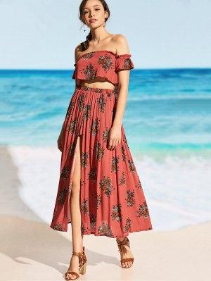 Printed Off Shoulder Top with High Slit Skirt