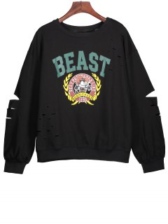 Ripped Sweatshirt With Cartoon Print - Black