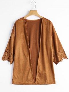 Hollow Out Faux Suede Kimono Top - Camel Xl