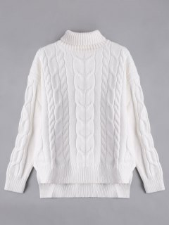 High Low Turtle Neck Cable Knit Sweater - White S