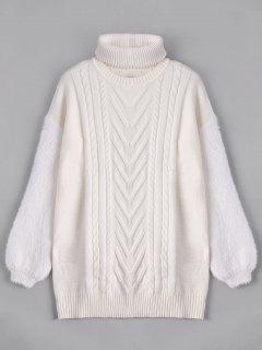 Fuzzy Longline Sweater With Choker - White L