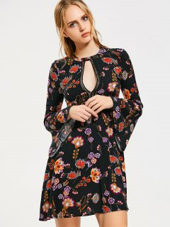Flare Sleeve Floral Cut Out Mini Dress - Black L
