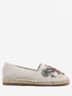 Rhinestone Espadrille Slip On Flat Shoes - Apricot 38