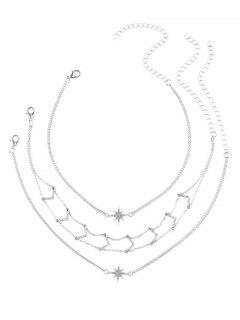 Rhinestone Star V Collarbone Necklace Set - Silver