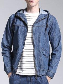 Veste En Jean à Capuche Zip Up - Denim Bleu Xl