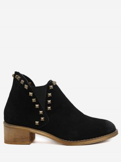 Faux Suede Stud Ankle Boots - Black 38