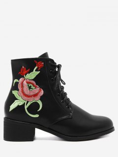 Embroidery Faux Leather Tie Up Ankle Boots - Black 39
