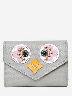 Studded Envelope Textured Leather Small Wallet - Gray