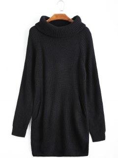 Long Turtleneck Raglan Sleeve Sweater - Black