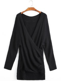 Draped Drop Shoulder Crossed Front Sweater - Black