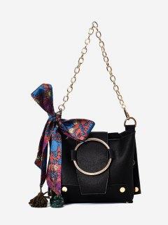 Metal Ring Chain Scarf Shoulder Bag - Black