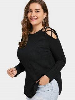 Cold Shoulder Strappy Plus Size T-shirt - Black 2xl