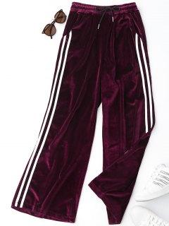 Side Stripe Velvet Pants - Purplish Red