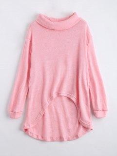 Turtleneck High Low Hem Sweater - Light Pink Xl