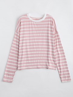 Drop Shoulder Striped Long Sleeve Tee - Shallow Pink S