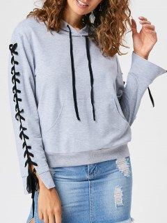 Kangaroo Pocket Lace Up Hoodie - Light Grey M