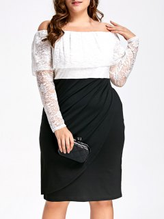 Lace Plus Size Off Shoulder Formal Dress - White And Black 2xl