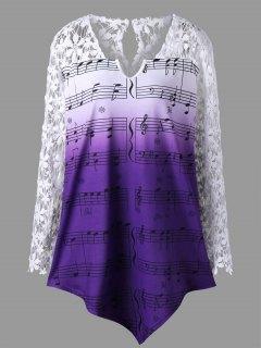 Plus Size Lace Trim Music Notes Top - Dahlia 2xl
