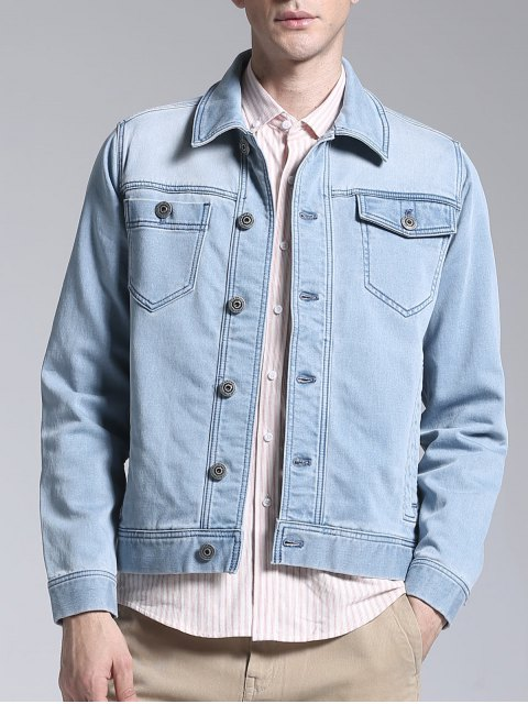 fashion Slim Fit Button Up Denim Jacket - LIGHT BLUE 2XL Mobile