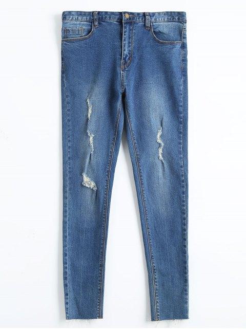 Jeans à cravate craquelée à la fourrure - Denim Bleu 30 Mobile