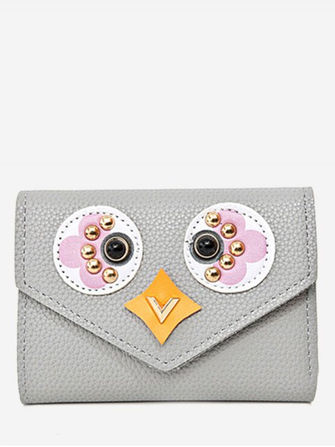 outfit Studded Envelope Textured Leather Small Wallet - GRAY  Mobile