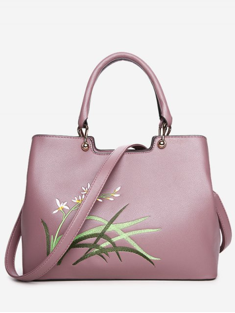 latest Faux Leather Embroidered Handbag With Strap - PINK  Mobile