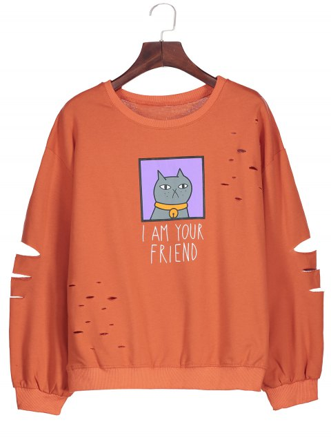 affordable Graphic Cartoon Print Ripped Sweatshirt - JACINTH ONE SIZE Mobile