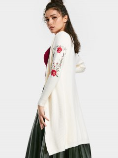 Floral Embroidered Open Front Knit Cardigan - White