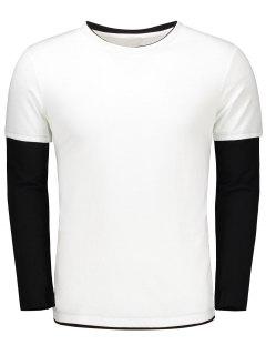 Long Sleeve Color Block T Shirt - White Xl