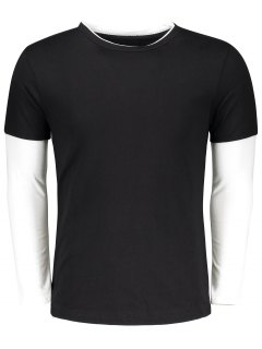 Long Sleeve Two Tone T Shirt - Black Xl