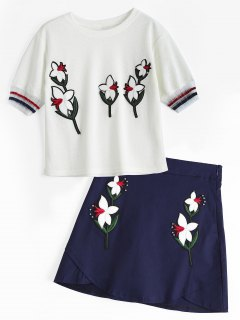 Voile Panel Floral Patches Top And Beaded Mini Skirt - White L