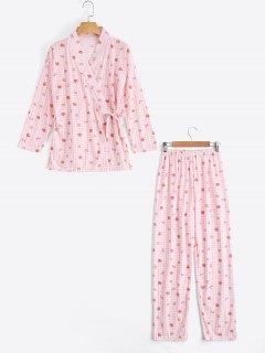 Plaid Strawberry Kimono With Pants Loungewear - Pink M