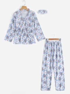 Loungewear Floral Wrap Top With Pants - Light Blue M