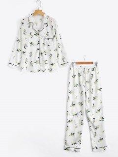Loungewear Satin Floral Print Shirt With Pants - White M