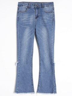 Frayed Hem Boot Cut Jeans - Blue L