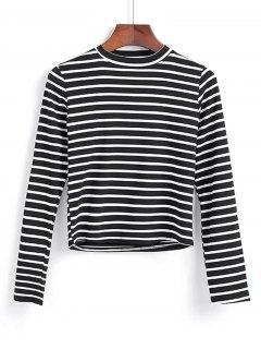 Long Sleeve Stripes Layering Top - Black