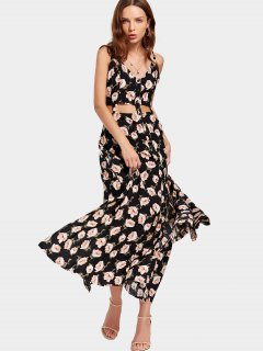 Floral Print Cut Out Slit Cami Dress - Floral M