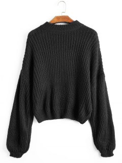 Lantern Sleeve Mock Neck Chunky Sweater - Black