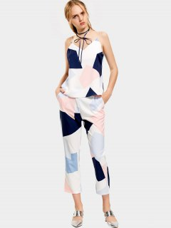 Geometric Contrasting Tank Top And Ninth Straight Pants - Multicolor M