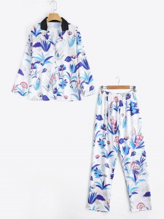Satin Grass Print Shirt With Pants Loungewear Suit - White Xl