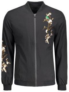 Zipper Embroidery Bomber Jacket - Black 2xl