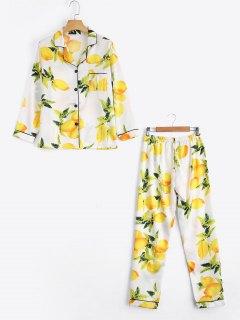 Satin Lemon Print Shirt With Pants Loungewear Suit - White M