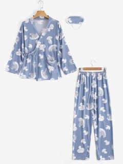 Loungewear Mushroom Print Wrap Top With Pants - Stone Blue Xl