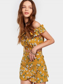 Floral Print Crop Top With Skirt Set - Earthy Xl