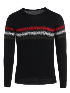 Mens Crew Neck Graphic Sweater - Black Xl