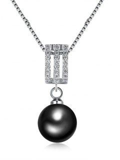 Rhinestone Faux Pearl Pendant Charm Necklace - Silver