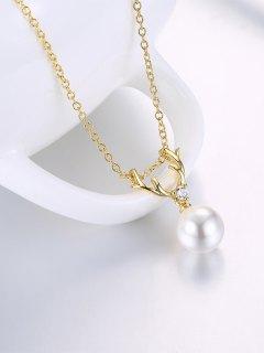 Faux Pearl Elk Charm Necklace - Golden