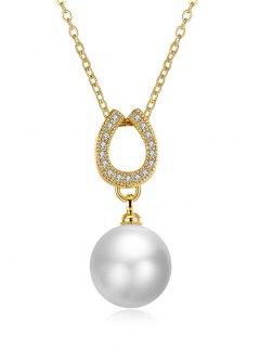 Faux Pearl Rhinestone Horseshoe Collarbone Necklace - Golden