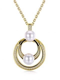 Faux Pearl Double Circle Pendant Necklace - Golden